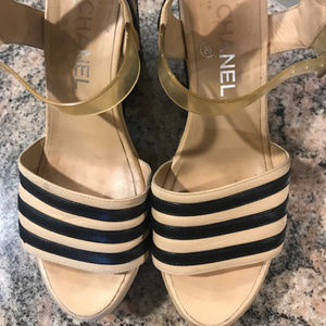 CHANEL Shoes - CHANEL Open Toe Black and Tan Shoes - Size 38